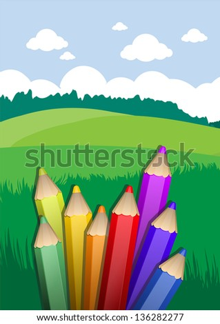 back to school background with pencils - stock vector