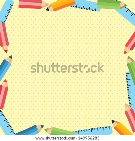 back to school - background with ruler and pencil - stock vector