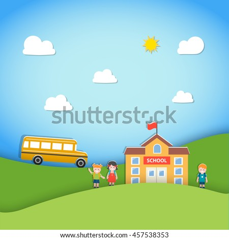 Back to school background with school building, bus and children, vector illustration. Paper art style.  Can be used for background, backdrop, ad, sale promotion, poster, flyer. Layout template - stock vector