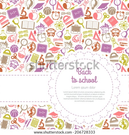 Back to school background with space for text, education icons - stock vector
