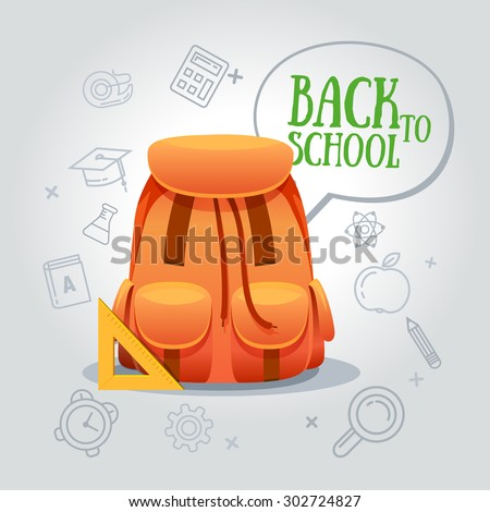 Back to school, backpack vector illustration. Grey background to line icon school - stock vector