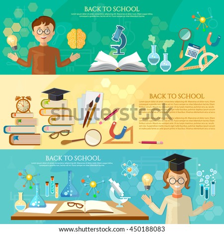 Back to school banners education students at the school board vector illustration - stock vector