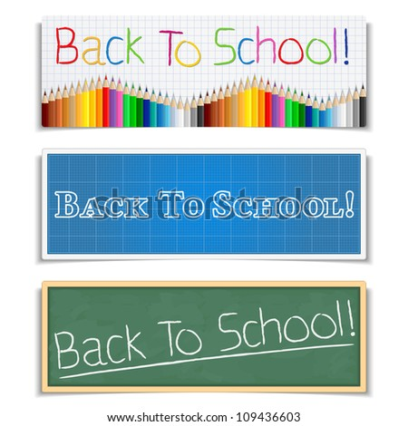 Back To School Banners, vector eps10 illustration - stock vector