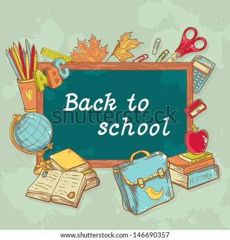 Back to school board card with various study items in cartoon hand drawn style - stock vector