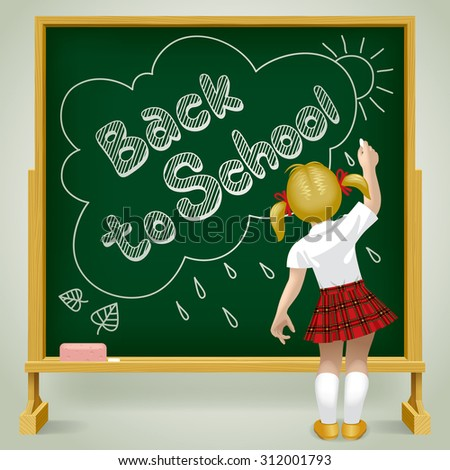 Back to school board with a writing little girl. Back to school background. Vector illustration - stock vector