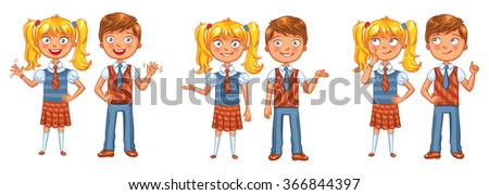 Back to school. Boys and girls posing together. Funny cartoon character. Vector illustration. Isolated on white background - stock vector