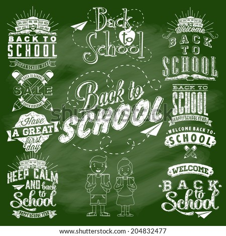 Back to School Calligraphic Designs Label Set On Chalkboard | Retro Style Elements | Vintage Ornaments | Sale, Clearance | Vector Set - stock vector