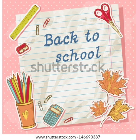 Back to school card on paper sheet with various study items in cartoon hand drawn style - stock vector