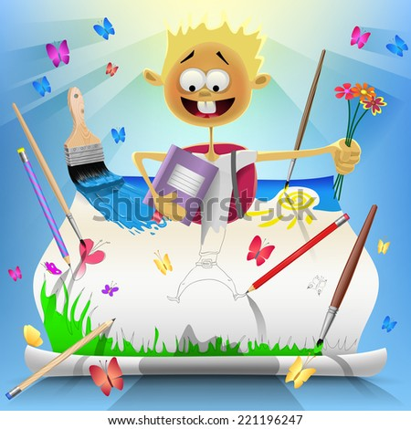 Back To School Card with Smiling Boy Who Drew - stock vector
