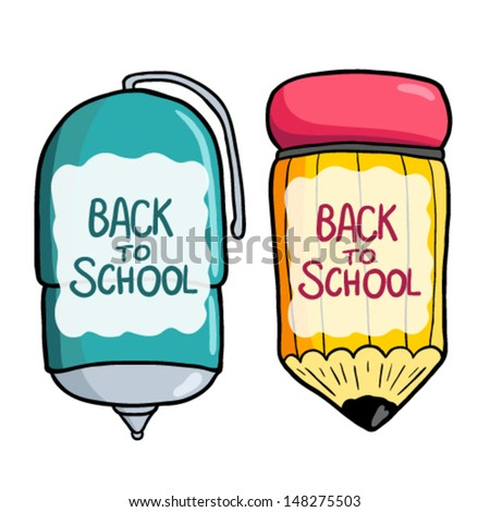Back to school. Cartoon cute pen, pencil banner with place for your text. Doodle banner. Vector illustration. - stock vector