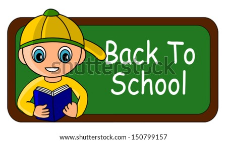 Back to school cartoon theme, reading kid and chalkboard - stock vector