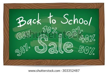 Back to school chalk board vector - stock vector