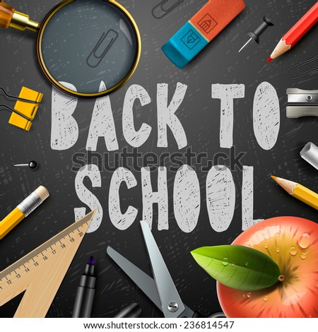Back to school chalk drawing template with schools supplies, vector illustration.    - stock vector
