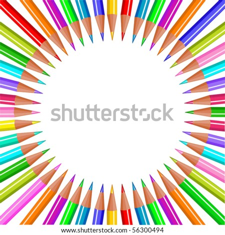 Back to school color pencils background - stock vector