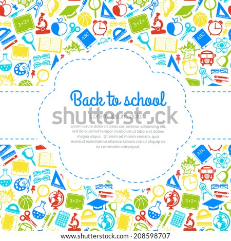 Back to school colorful background with space for text, education icons - stock vector