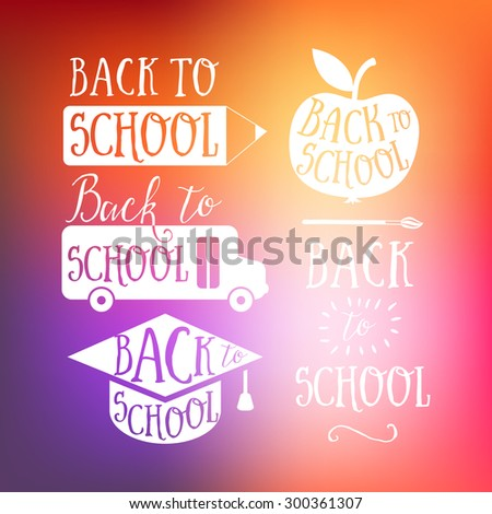 Back to school colorful doodle lettering signs: bus, apple, pencil. Back to school logo. Greeting card. School cartoon hand lettering on colorful background - stock vector