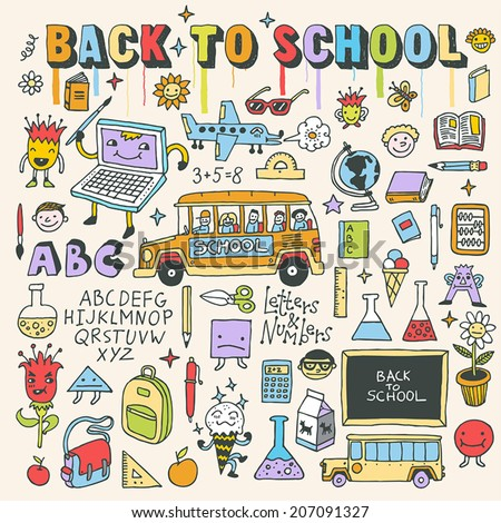 Back to school colorful doodle set. Hand drawn vector illustration. - stock vector