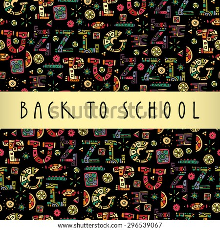 Back to school colorful greeting card design with light yellow silky stripe copy space, hand lettering and a multicolor artistic puzzle background. Vector seamless pattern - stock vector
