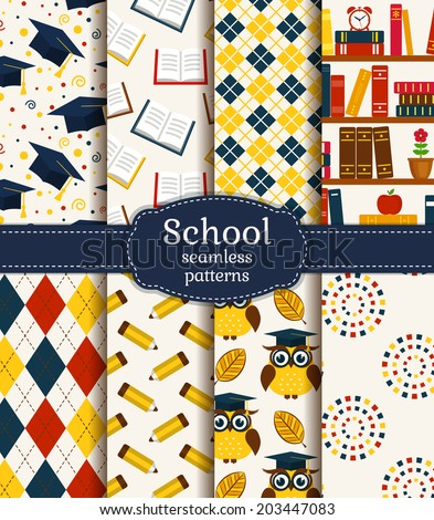 Back to school. Colorful school and graduation seamless patterns. Vector collection. - stock vector