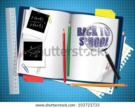 Back to school composition - stock vector