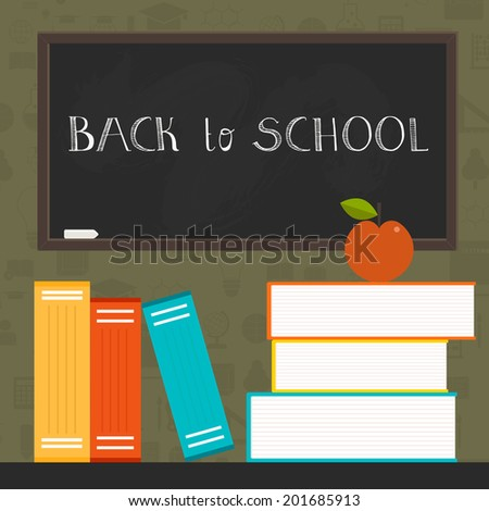 Back to school concept illustration. Perfect education design with books and chalk board. Hand drawn typography element on the back. Template for your design with lots of college icons. - stock vector