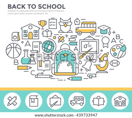 Back to school concept illustration, thin line flat design - stock vector