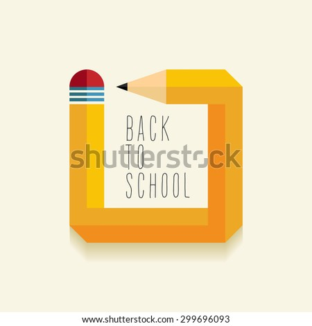 Back to school concept with creative impossible pencil shape illustration. Ideal for web banner, education book cover and poster print. EPS10 vector file. - stock vector