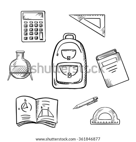 Back to school concept with school backpack, book, calculator, notebook, exercise book, pencil, chemical laboratory flask, triangle ruler and protractor. Sketch icons - stock vector