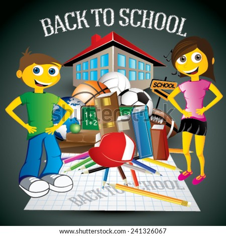 Back to School concept with young girl and boy - also included color pencils, sport balls, squared paper page, building of school, apple, school board, music notes, school globe, hat - stock vector