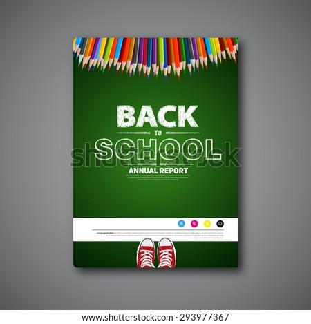 Back to school cover or brochure vector, design handwritten sketch items - stock vector