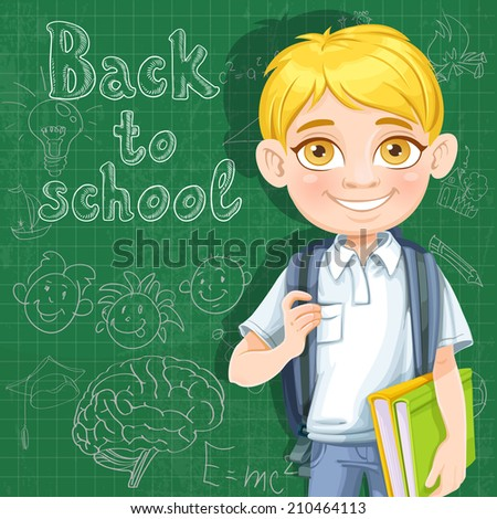 Back to school - cute blond boy with books at the blackboard - stock vector