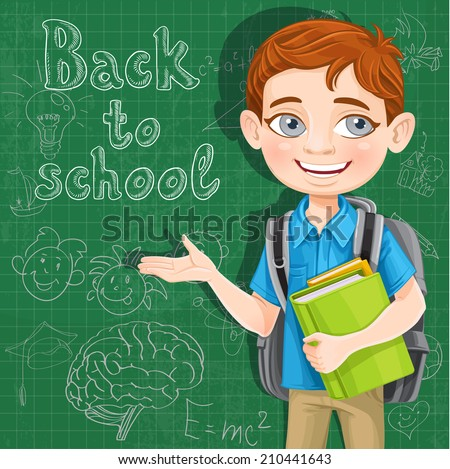 Back to school - cute boy with books at the blackboard - stock vector