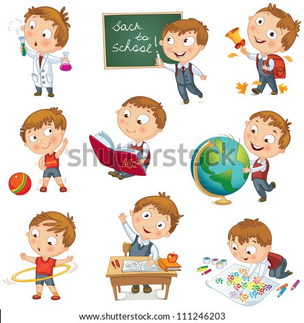 Back to school. Cute schoolchild at a lesson of geography, literature, physical education, biology, botany, chemistry, drawing. Young boy raising his hand in school. Wrote in chalk on blackboard - stock vector