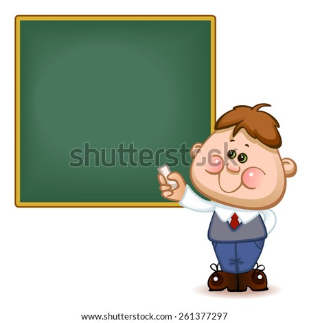 Back to school. Cute schoolchild at the  blackboard to answer a lesson. Vector illustration  - stock vector