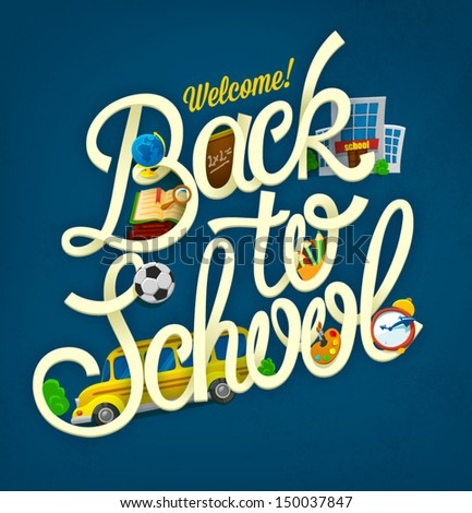 Back to school design template - stock vector