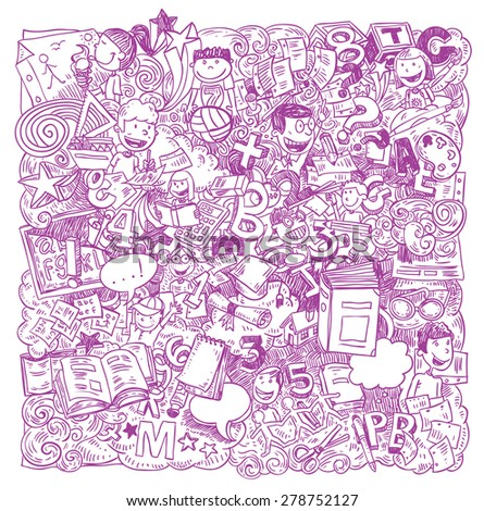 Back to school Doodle, icons, vector illustration. - stock vector