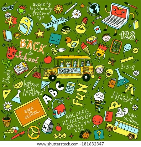 Back to school doodle mega set. Vector illustration. - stock vector