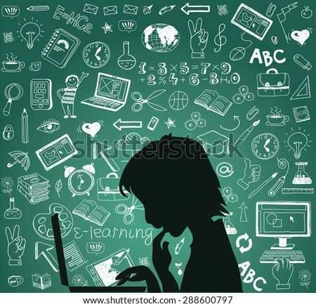 Back to school - doodle set, concept background education. Isolated on white background. Silhouette student with a laptop. - stock vector