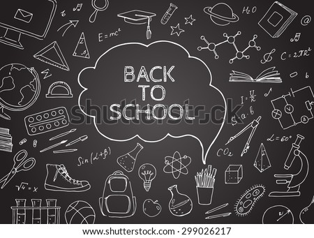 Back to school doodles in chalkboard background. Vector  hand drawing icons. Linear illustration.  Back to School. Chemistry, mathematics, astronomy, music, sports, drawing, geometry, physics. - stock vector