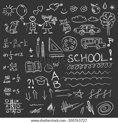 Back to school doodles set on blackboard. Vector  - stock vector