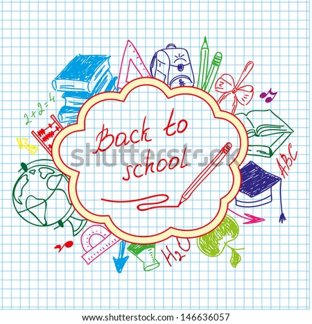back to school drawing by hand in a notebook - stock vector