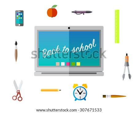 Back to school education background vector - stock vector