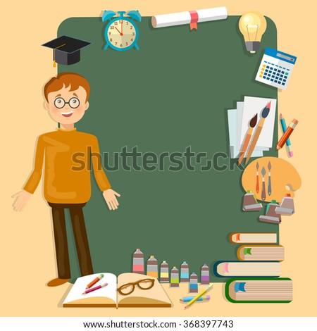 Back to school education schoolboy school board classroom vector illustration - stock vector