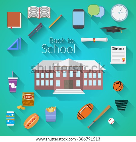 Back to School Flat design modern vector illustration, school building, pen, pencil, food, sport items, diploma and graduation cap icons with long shadow - stock vector