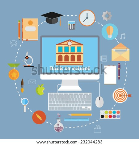 Back to school flat icons design. Vector illustration - stock vector