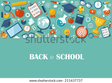 Back to school flat illustration. eps10 - stock vector