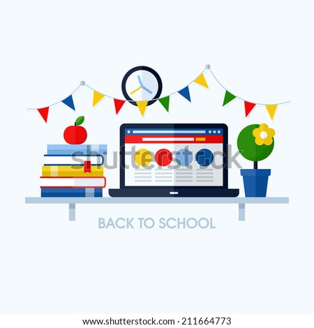 Back to school flat vector illustration with desk and school supplies. Creative design elements for websites, mobile apps and printed materials - stock vector