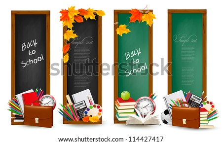 Back to school. Four banners with school supplies and autumn leaves. Vector. - stock vector