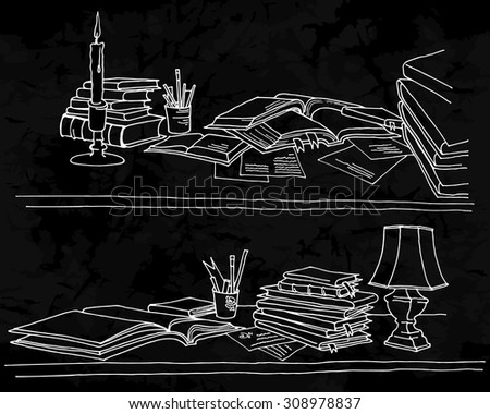 Back to School. Freehand drawing school elements on a blackboard. Opened schoolbooks and notebooks. Learning lessons. Vector illustration. - stock vector