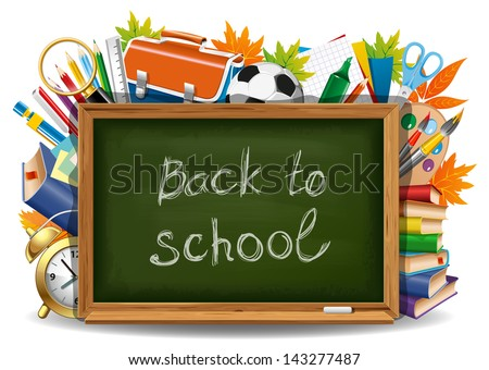 Back to school. Green chalkboard with school supplies. Vector illustration. - stock vector